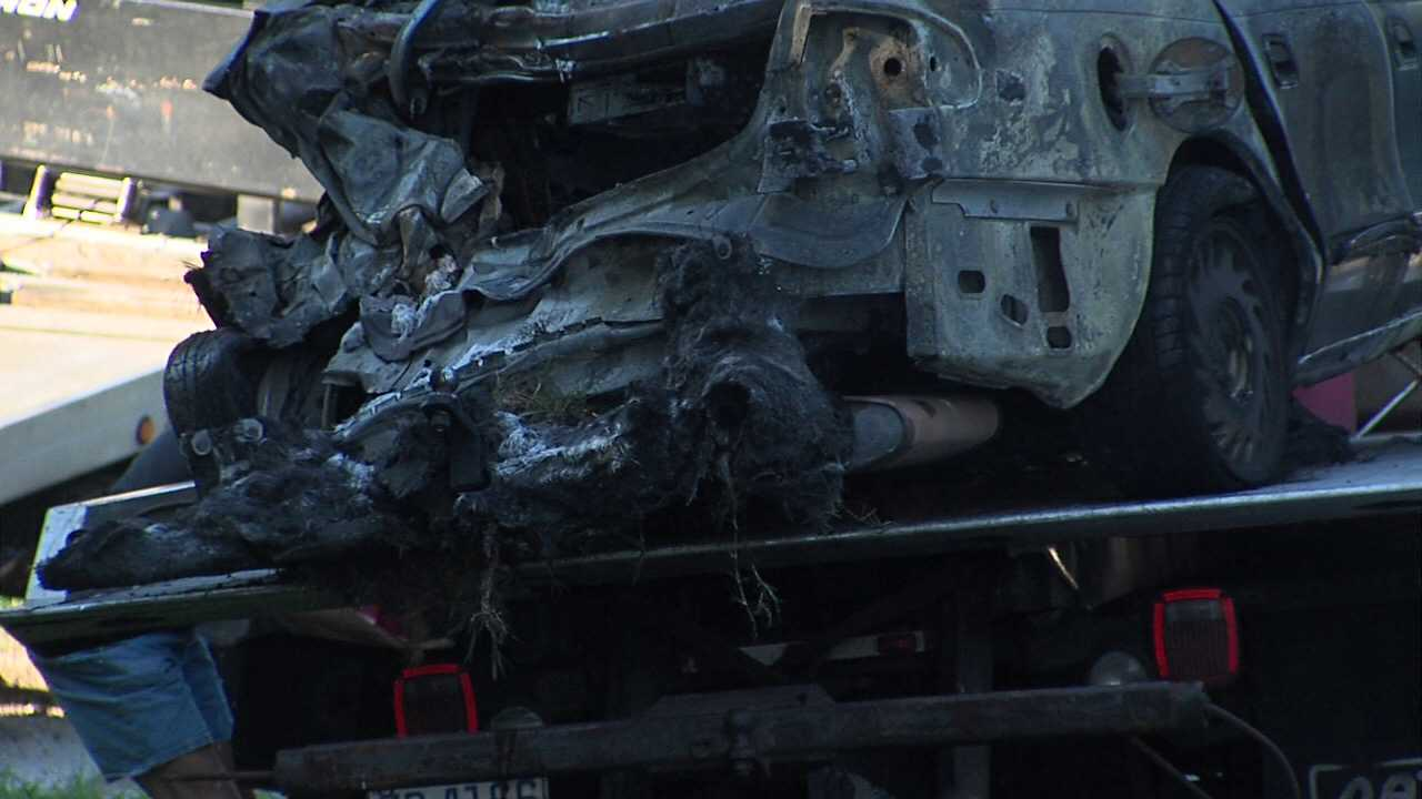 Car after fire on U.S. 29 (WGHP)