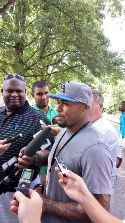 Steve Smith arriving at training camp in Spartanburg (Panthers.com)