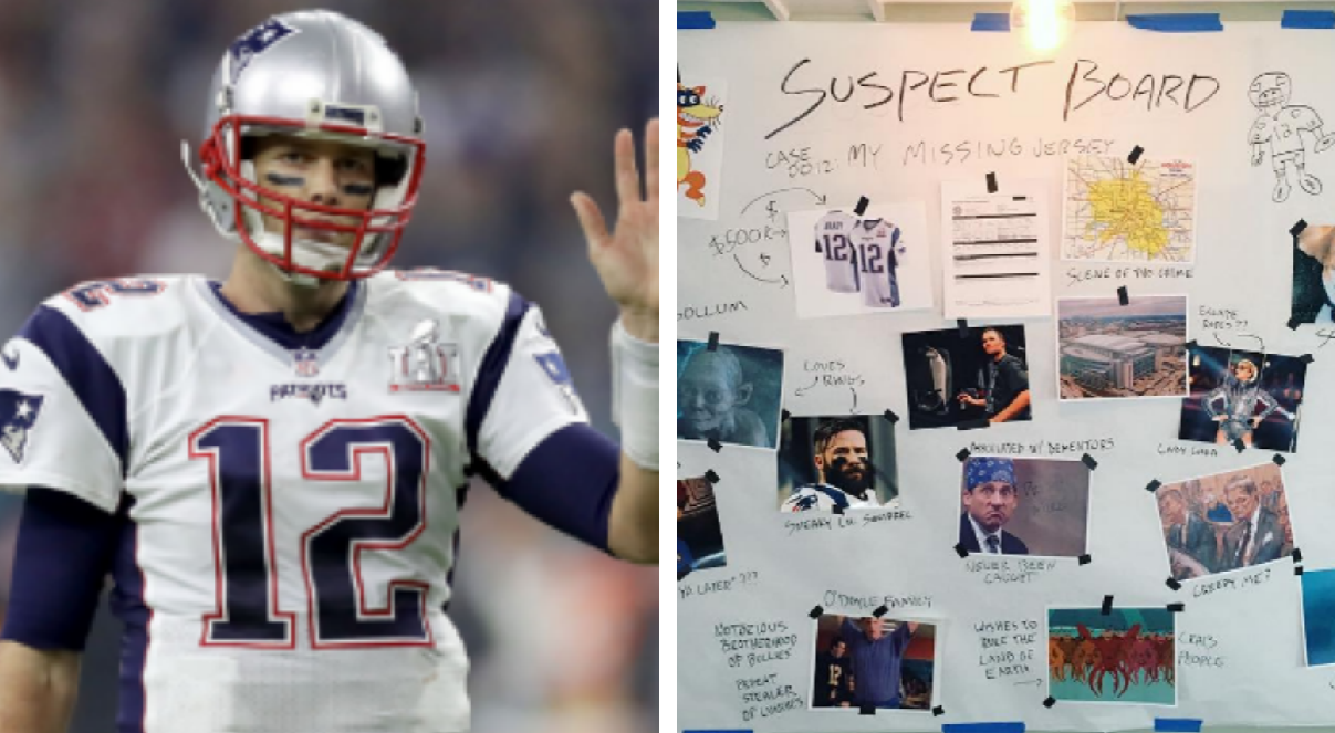 Tom Brady shares hilarious 'suspect board' in search for missing ...