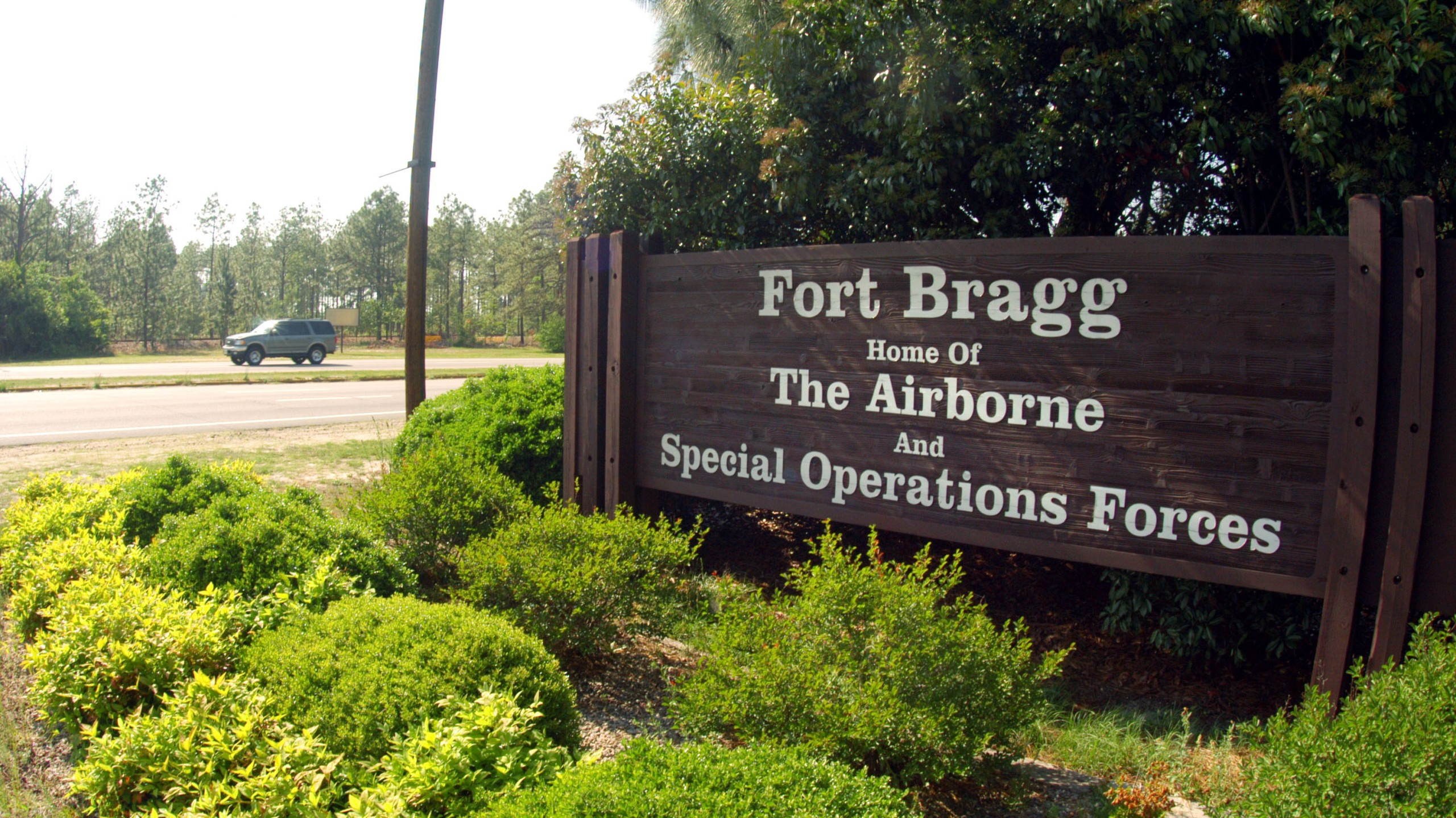 Fort Bragg sign (Photo by Logan Mock-Bunting/Getty Images)
