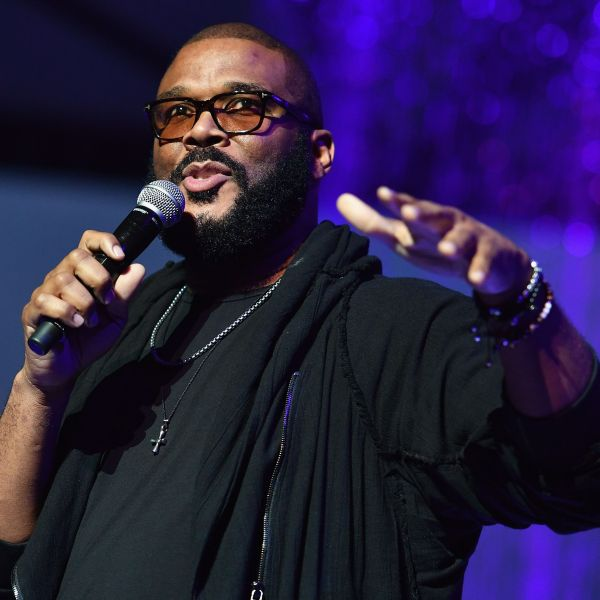 "US actor and filmmaker Tyler Perry speaks during ""A People's Tribute to the Queen"", an Aretha Franklin tribute event at Chene Park amphitheatre on August 30, 2018 in Detroit, Michigan.(ANGELA WEISS/AFP/Getty Images)"