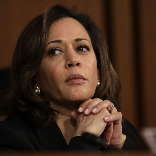 WASHINGTON, DC - SEPTEMBER 04: U.S. Sen. Kamala Harris (D-CA) delivers listens as Supreme Court nominee Judge Brett Kavanaugh appears for his confirmation hearing before the Senate Judiciary Committee in the Hart Senate Office Building on Capitol Hill September 4, 2018 in Washington, DC. Kavanaugh was nominated by President Donald Trump to fill the vacancy on the court left by retiring Associate Justice Anthony Kennedy. (Photo by Drew Angerer/Getty Images)