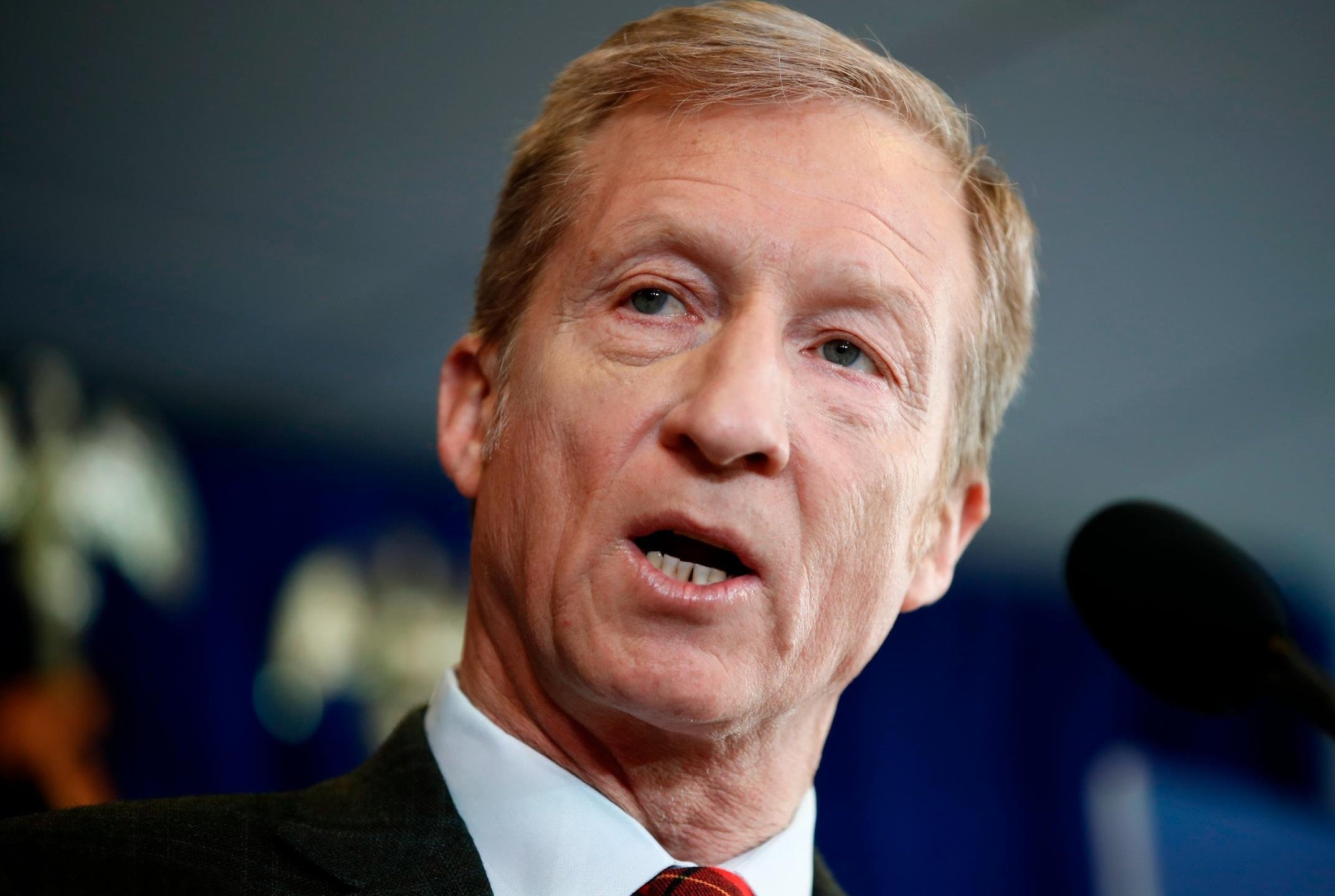 Billionaire environmental activist Tom Steyer speaks during a news conference in Washington, Monday, Jan. 8, 2018. Steyer announced Monday he will spend $30 million to get young voters to the polls in this year's midterm elections.