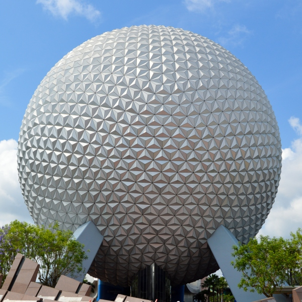 The iconic Spaceship Earth ride stands at the entrance to Epcot at Walt Disney World. (Getty Images)