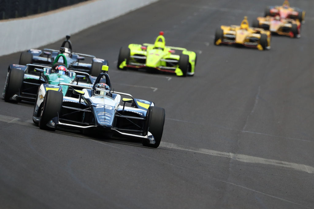 Drivers race during the 102nd Indianapolis 500 at Indianapolis Motorspeedway on May 27, 2018 in Indianapolis, Indiana.(Photo by Patrick Smith/Getty Images)