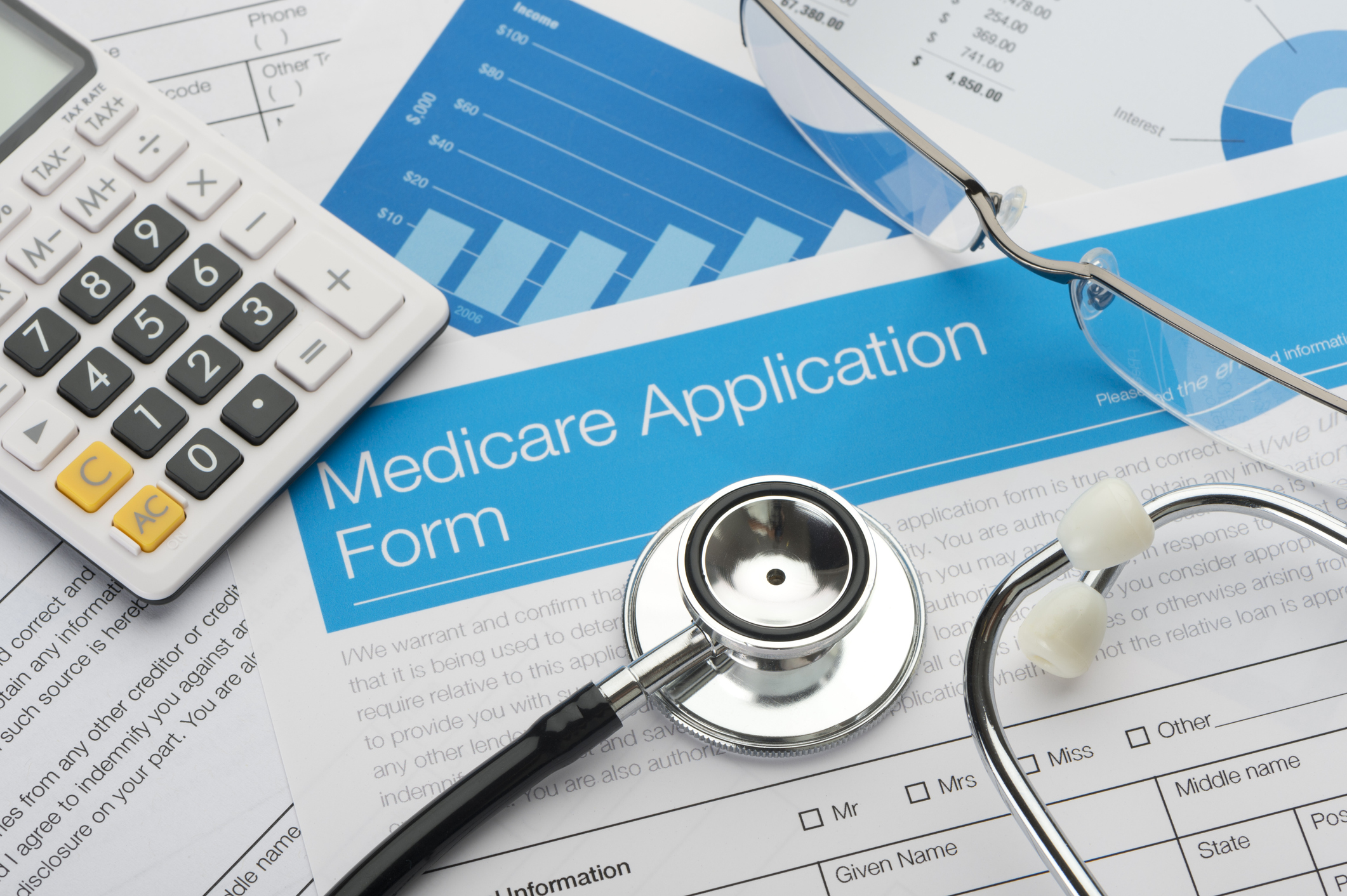 Medicare application form with stethoscope (Getty Images)