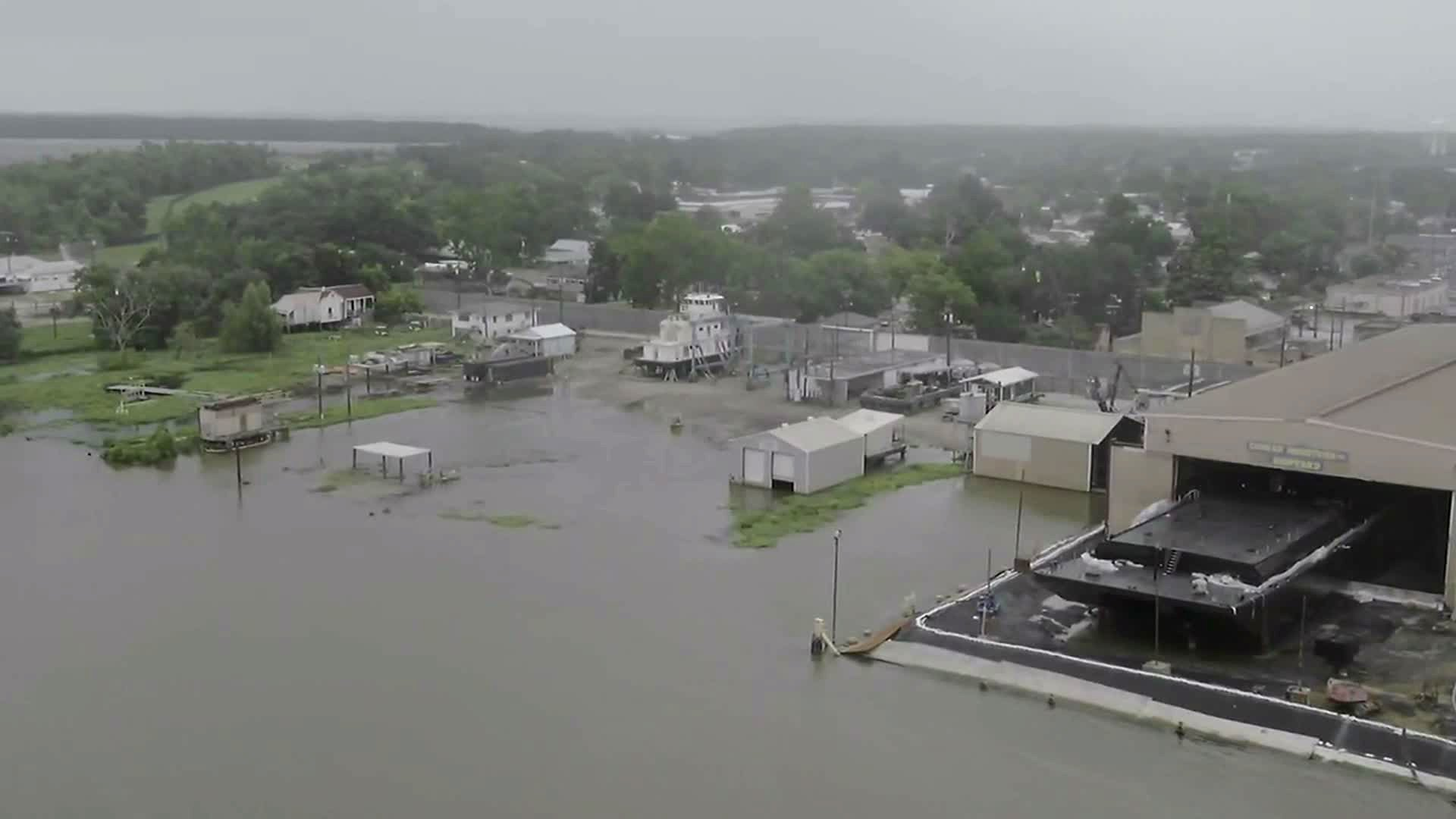 Early signs of flooding from Barry are seen Friday via drone in Morgan City, Louisiana.
