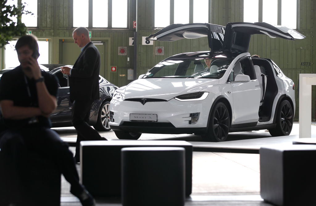 A Tesla Model X automobile is seen during day 2 of the Greentech Festival at Tempelhof Airport on May 24, 2019 in Berlin, Germany. (Photo by Axel Schmidt/Getty Images for Greentech Festival)