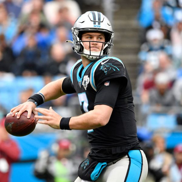 Kyle Allen #7 of the Carolina Panthers drops back to pass against the New Orleans Saints during the second quarter of their game at Bank of America Stadium on December 29, 2019 in Charlotte, North Carolina. (Photo by Grant Halverson/Getty Images)