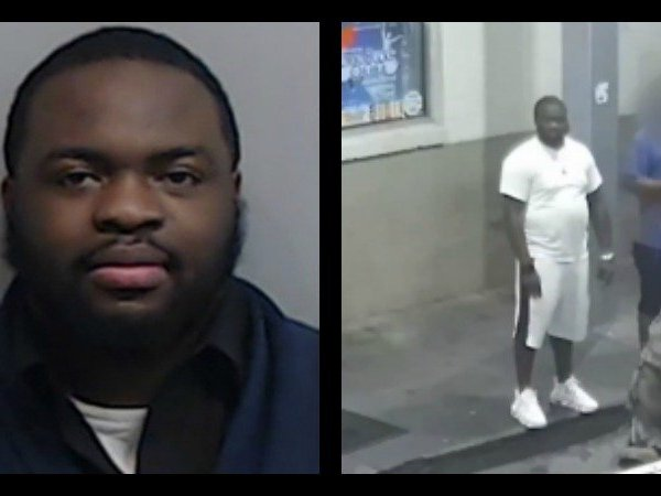 Mugshot of Jamari Davenport beside a photo of the suspect taken by a surveillance camera at the scene of the crime.