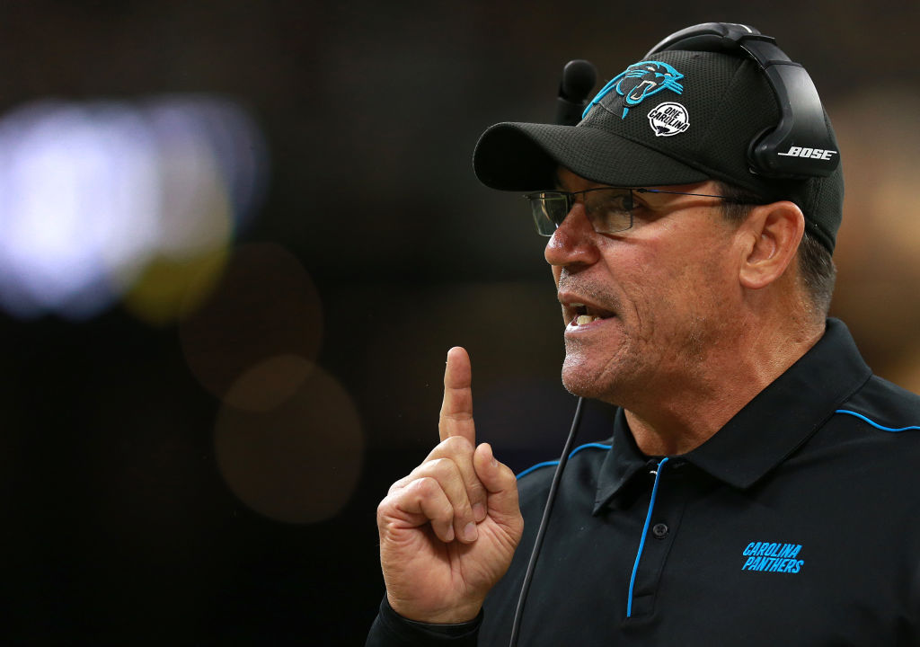 Then-Carolina Panthers head coach Ron Rivera reacts against the New Orleans Saints during the first quarter in the game at Mercedes Benz Superdome on November 24, 2019 in New Orleans, Louisiana. (Photo by Sean Gardner/Getty Images)