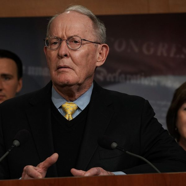 U.S. Sen. Lamar Alexander (R-TN) (2nd L) speaks as (L-R) Rep. Ryan Costello (R-PA) and Sen. Susan Collins (R-ME) listen during a news conference at the Capitol March 21, 2018. (Photo by Alex Wong/Getty Images)