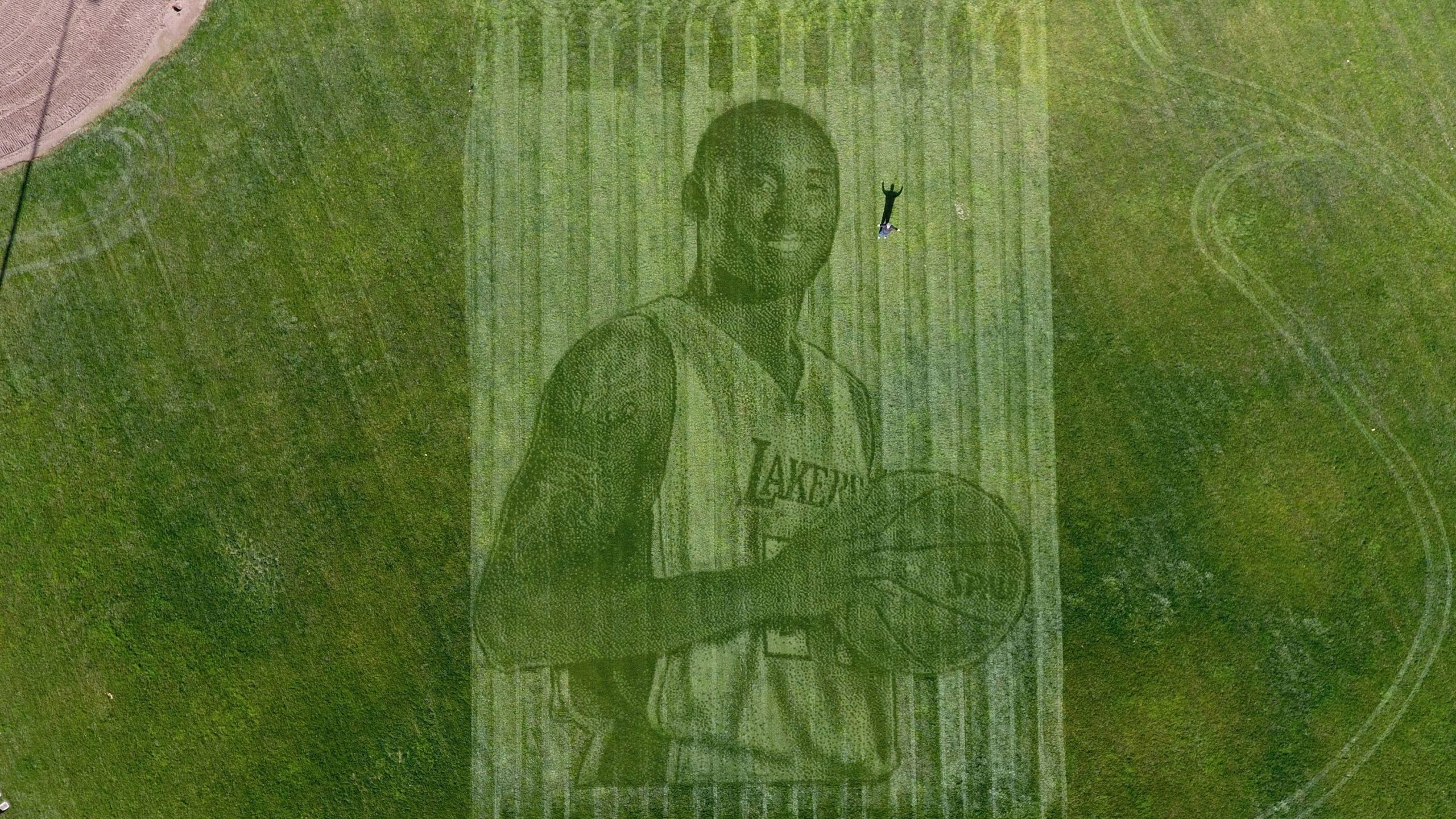 Kelli Pearson and her husband, Pete Davis, created a 115-foot tall mural of Kobe Bryant in a grass field in California. (Credit: Kelli Pearson)
