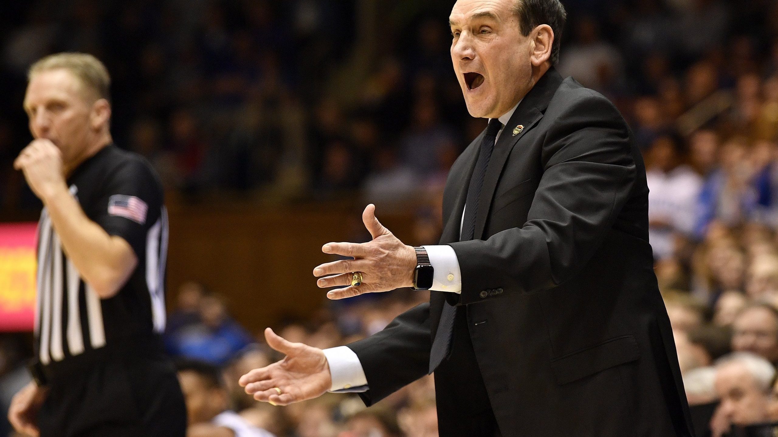 Duke's Mike Krzyzewski coaches his Blue Devils against Pitt on January 28. (Photo by Grant Halverson/Getty Images)