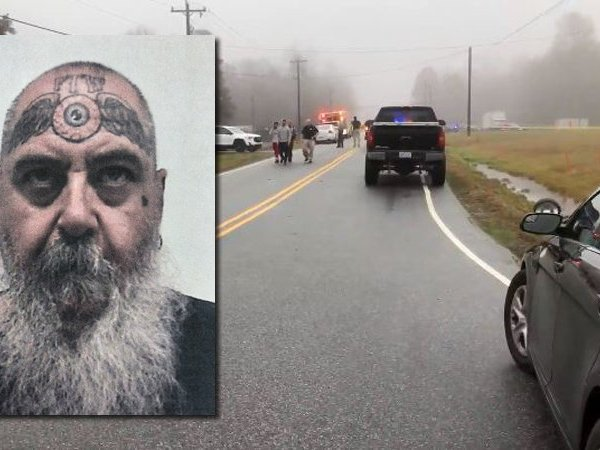 """Mugshot of Kevin Michael over a picture of the scene near Thomasville where deputies responded to a """"disturbance."""""""