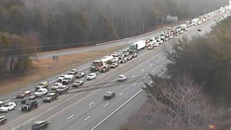 Traffic backed up for miles after crash on I-40 east in Winston-Salem.