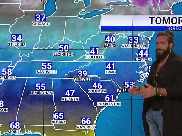 WWE wrestler Elias does the weather on the FOX8 Morning News.
