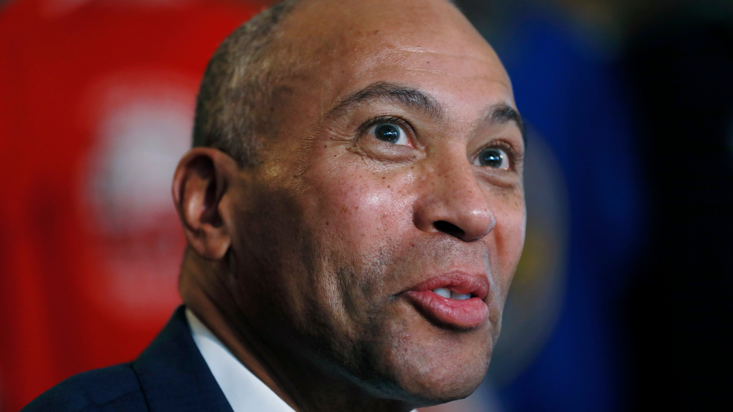 FILE - In this Nov. 18, 2019 file photo, Democratic presidential candidate former Massachusetts Gov. Deval Patrick speaks to local residents during a stop at the Sykora Bakery, in Cedar Rapids, Iowa. Patrick has ended his campaign for president after his late bid failed to gain traction in the race. Patrick was the last remaining African American candidate in a Democratic presidential field once defined by its diversity.(AP Photo/Charlie Neibergall)