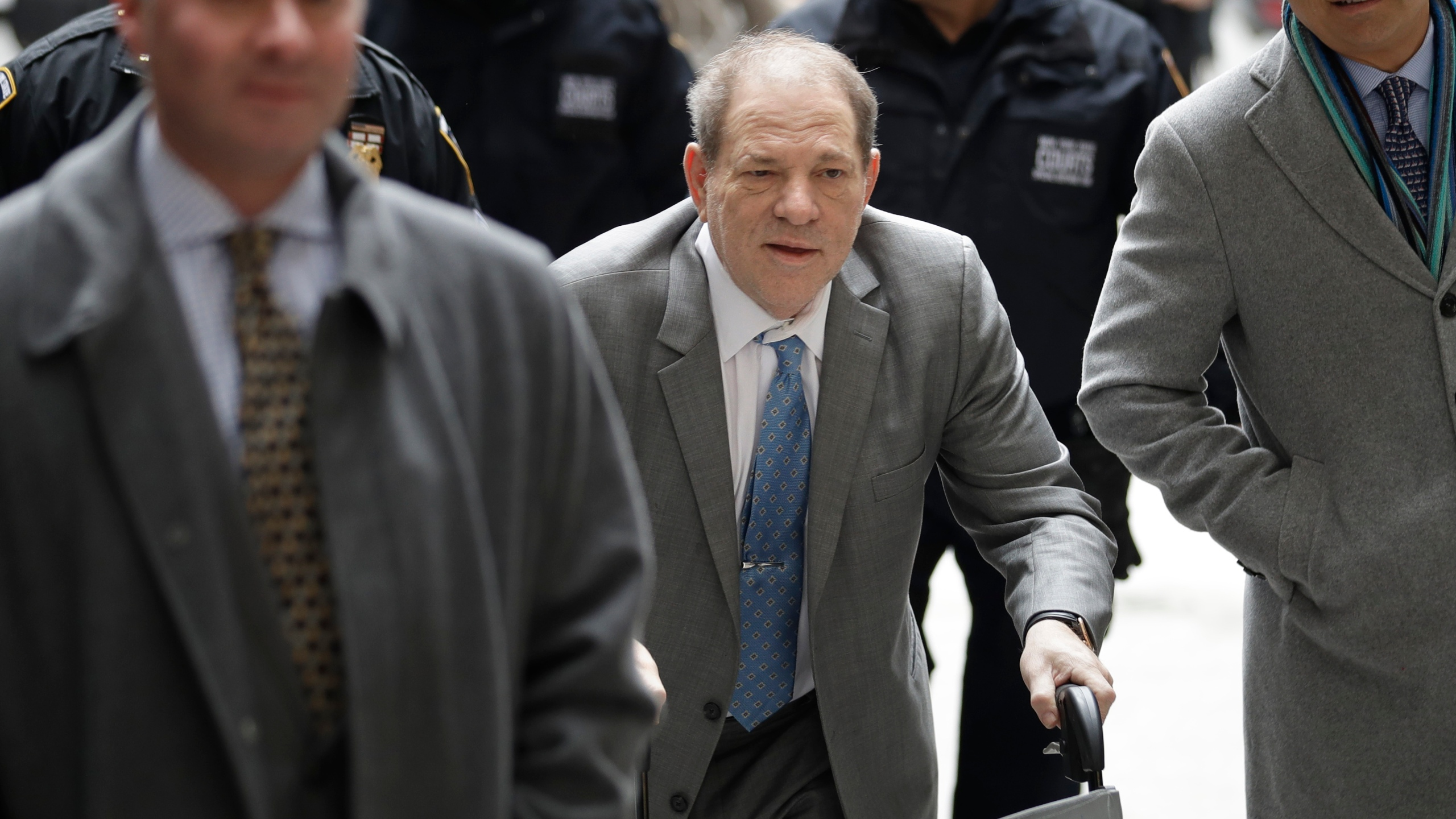 Harvey Weinstein arrives at a Manhattan courthouse for his rape trial in New York, Tuesday, Feb. 18, 2020. (AP Photo/Seth Wenig)