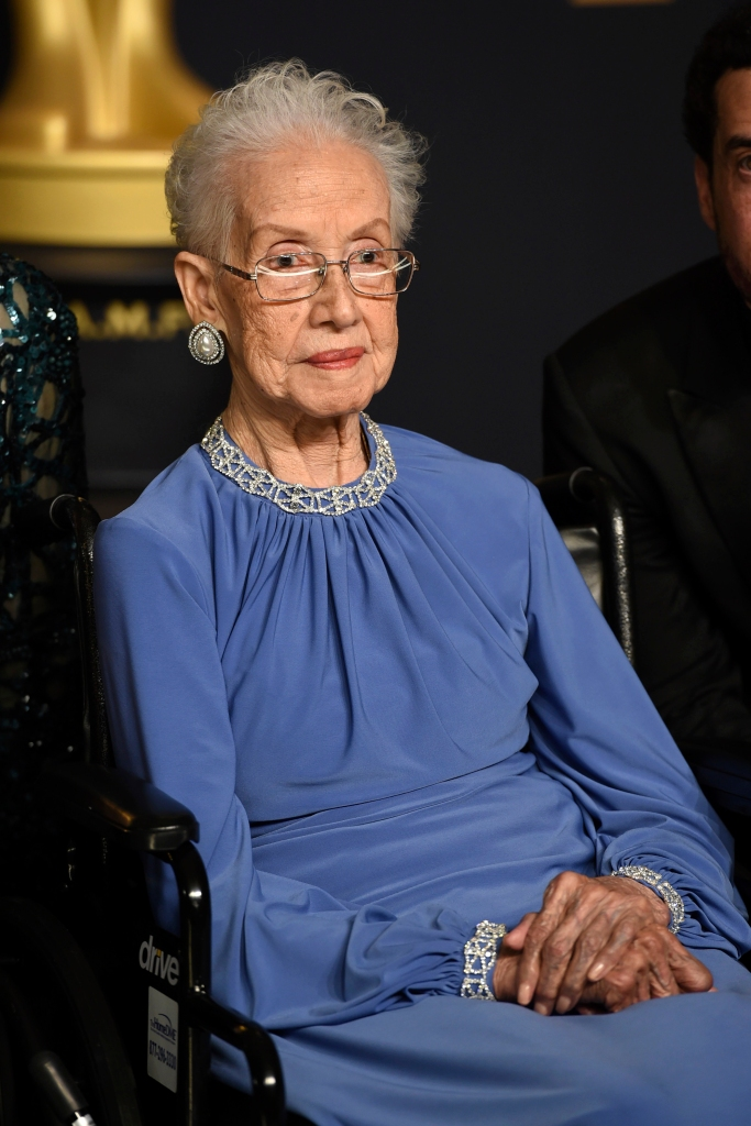 """FILE - In this Feb. 26, 2017, file photo, Katherine Johnson, the inspiration for the film, """"Hidden Figures,"""" poses in the press room at the Oscars at the Dolby Theatre in Los Angeles. Johnson, a mathematician on early space missions who was portrayed in film """"Hidden Figures,"""" about pioneering black female aerospace workers, died Monday, Feb. 24, 2020. (Photo by Jordan Strauss/Invision/AP, File)"""