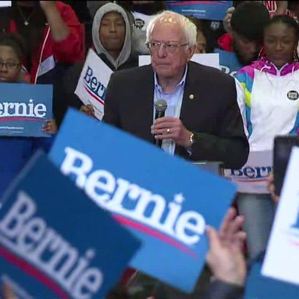 Bernie Sanders appears in Winston-Salem on Feb. 27, 2020. (WGHP)