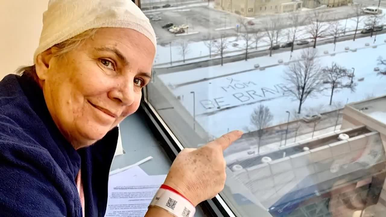Mom battling cancer receives special message in snow from daughter