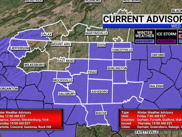 Piedmont Triad under Winter Weather Advisory on Thursday, Friday