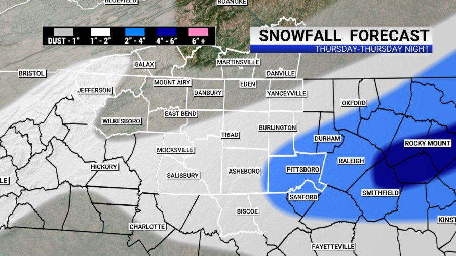 Here's the current forecast for snow accumulations.