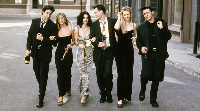 FRIENDS -- Season 6 -- Pictured: (l-r) David Schwimmer as Ross Geller, Jennifer Aniston as Rachel Green, Courteney Cox as Monica Geller, Matthew Perry as Chandler Bing, Lisa Kudrow as Phoebe Buffay, Matt LeBlanc as Joey Tribbiani -- (Photo by: NBCU Photo Bank/NBCUniversal via Getty Images)