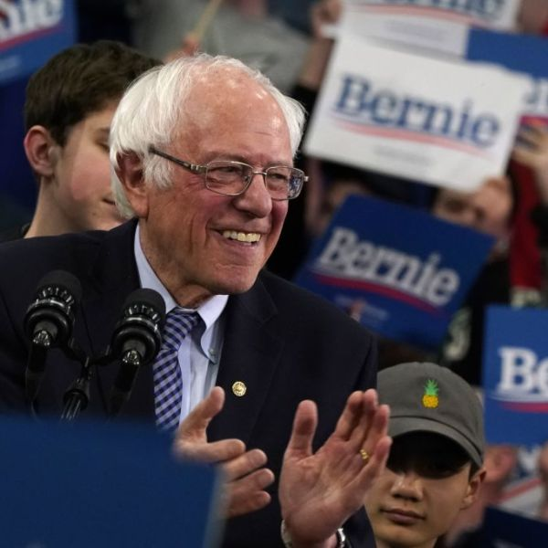 Democratic presidential hopeful Vermont Senator Bernie Sanders reacts as he speaks at a Primary Night event at the SNHU Field House in Manchester, New Hampshire on February 11, 2020. (Photo by TIMOTHY A. CLARY/AFP via Getty Images)