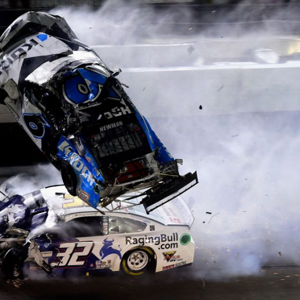 DAYTONA BEACH, FLORIDA - FEBRUARY 17: Ryan Newman, driver of the #6 Koch Industries Ford, and Corey LaJoie, driver of the #32 RagingBull.com Ford, crash during the last lap of the NASCAR Cup Series 62nd Annual Daytona 500 at Daytona International Speedway on February 17, 2020 in Daytona Beach, Florida. (Photo by Jared C. Tilton/Getty Images)