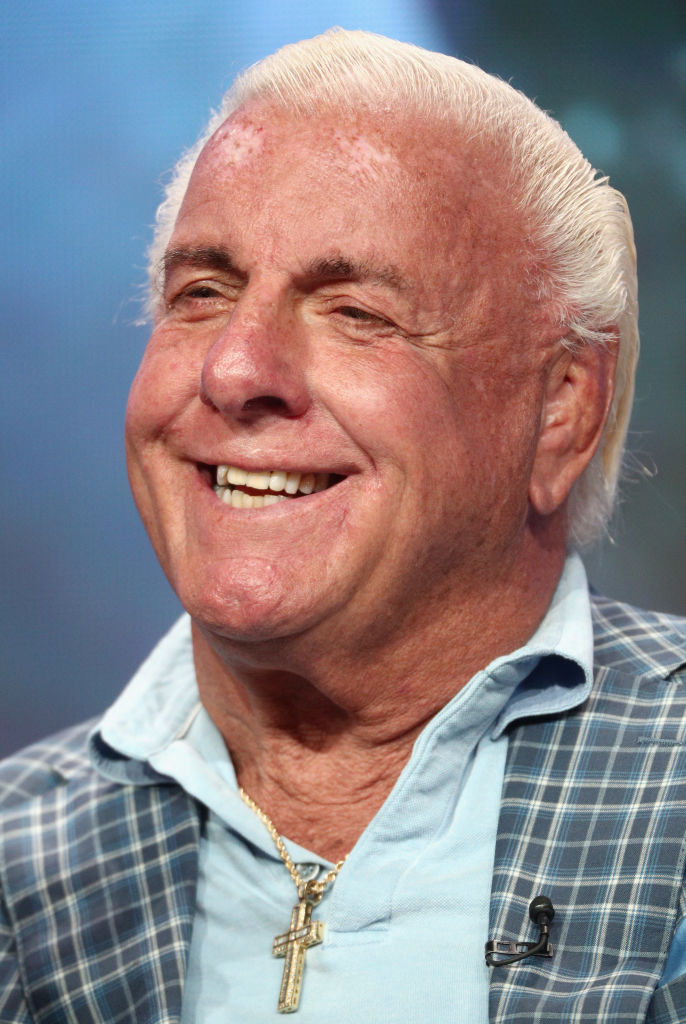 """Professional wrestler Ric Flair of 'ESPN's 30 for 30: """"Nature Boy""""' speaks onstage during the ESPN portion of the 2017 Summer Television Critics Association Press Tour at The Beverly Hilton Hotel on July 26, 2017 in Beverly Hills, California. (Photo by Frederick M. Brown/Getty Images)"""