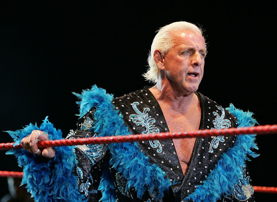 Ric Flair looks on while awaiting the entrance of Hulk Hogan during the Hulkamania Tour at the Burswood Dome on November 24, 2009 in Perth, Australia. (Photo by Paul Kane/Getty Images)