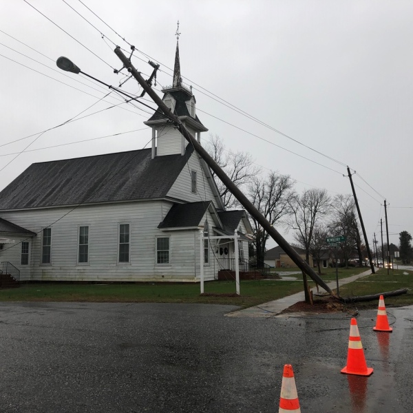 Storm damage in Liberty (Hayley Fixler/WGHP)