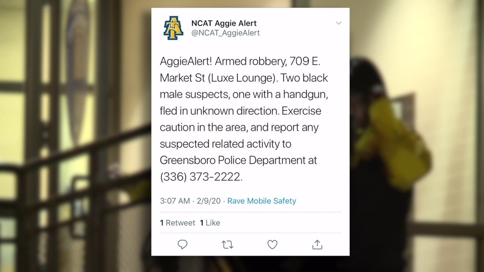 North Carolina A&T State Aggie Alert warns students of armed robbery at Luxe Lounge.