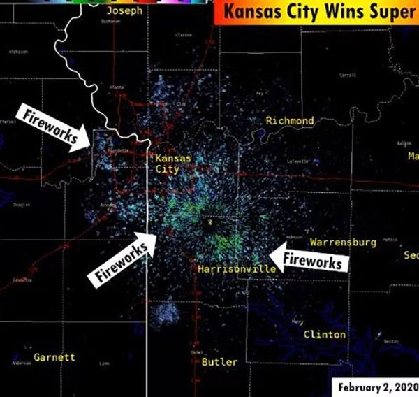 The National Weather Service in Kansas City released an animation showing fireworks detected by their radar.