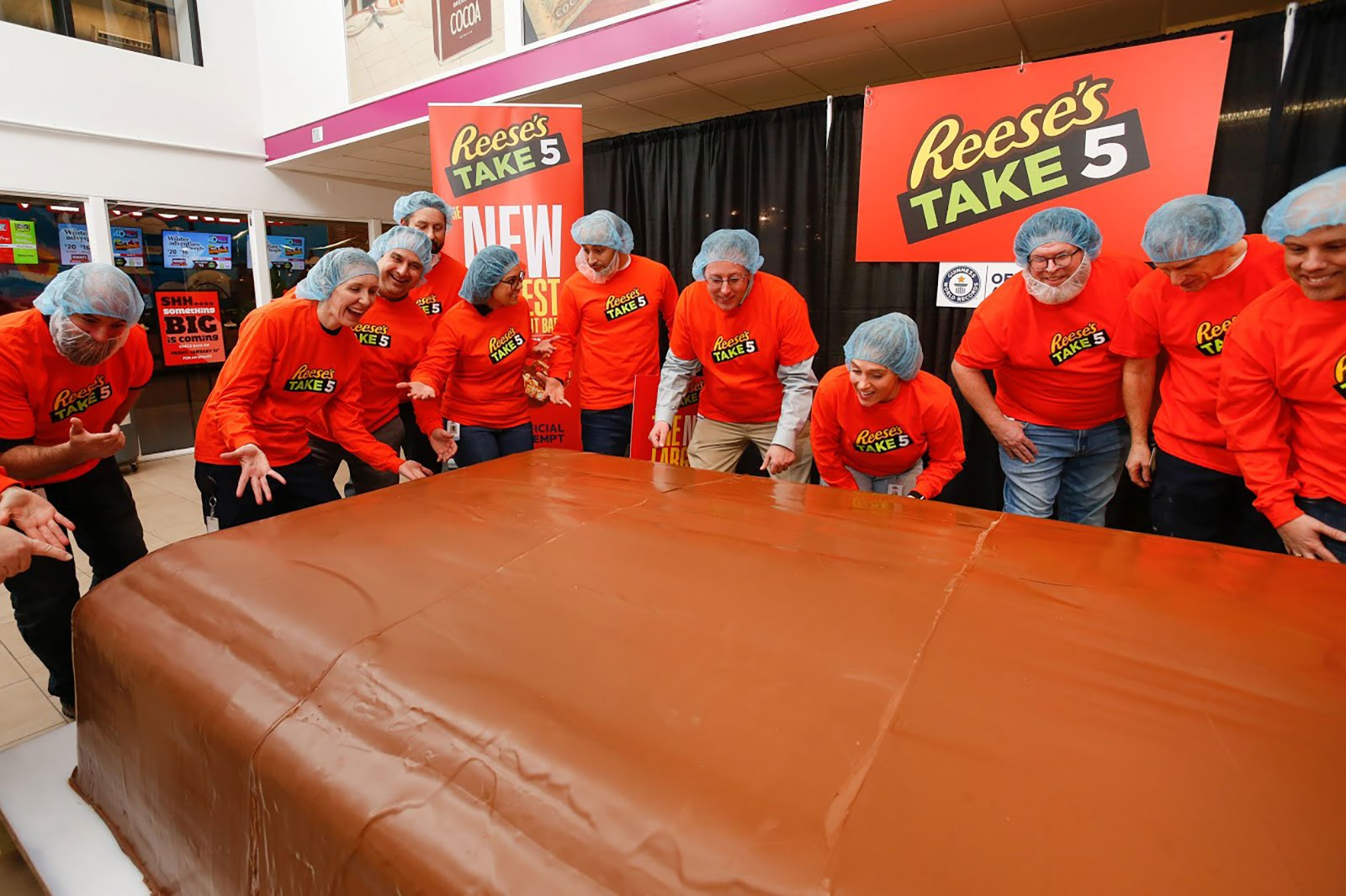 Reese's Take 5 breaks the Guinness World Record title for largest chocolate nut bar weighing in at 5,943 pounds on Thursday, Jan 30, 2020 in Hershey, Pennsylvania. The record-breaking bar was created in just 5 days, and mirrors the classic Reese's Take 5 bar with a delicious combination of five layers – Reese's peanut butter, chocolate, caramel, peanuts and pretzels.(Mark Stehle/AP Images for Hershey)