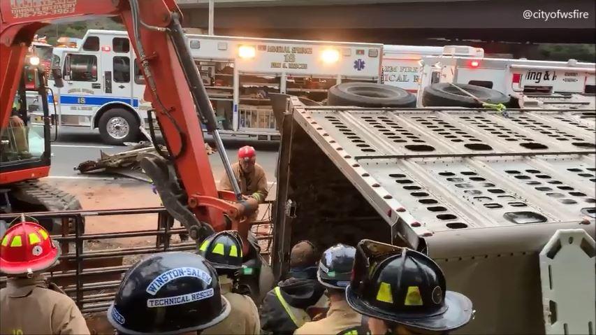 Crash on I-40 east in Winston-Salem. (Winston-Salem Fire Department)