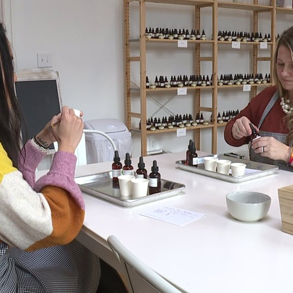 Shannon Smith stopped by Scent Workshop at Revolution Mill in Greensboro to learn how to blend scents into perfume, cologne and candles.