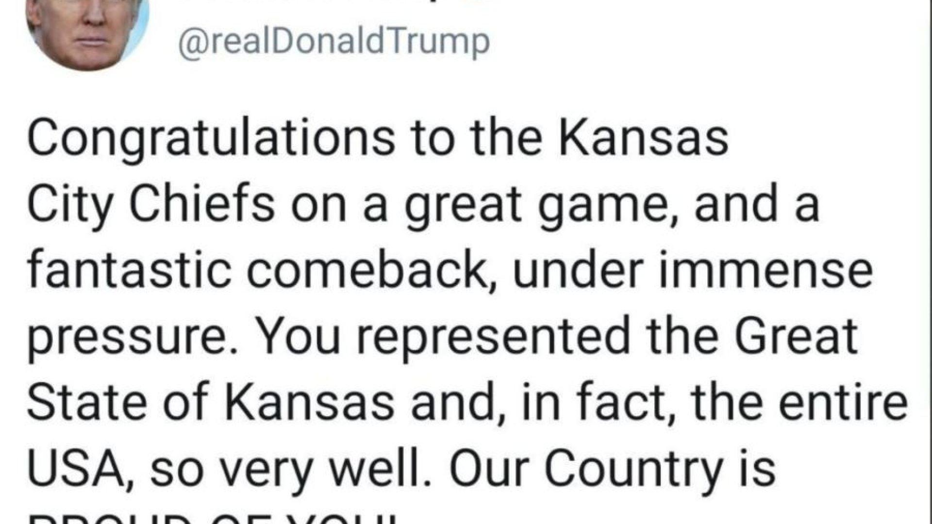 Trump fumbles tweet congratulating the Chiefs