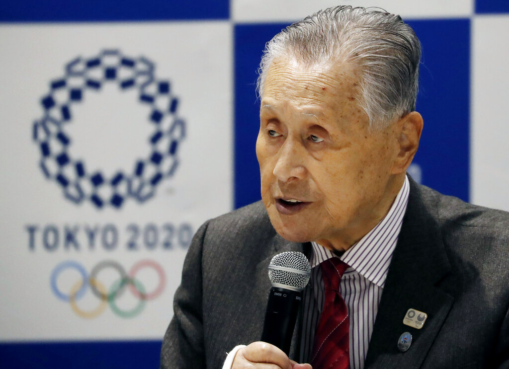 Tokyo 2020 Organizing Committee President Yoshiro Mori delivers a speech during the Tokyo 2020 Executive Board Meeting in Tokyo, Japan Monday, March 30, 2020. Mori said Monday he expects to talk with IOC President Thomas Bach this week about rescheduling the games for next year. (Issei Kato/Pool Photo via AP)