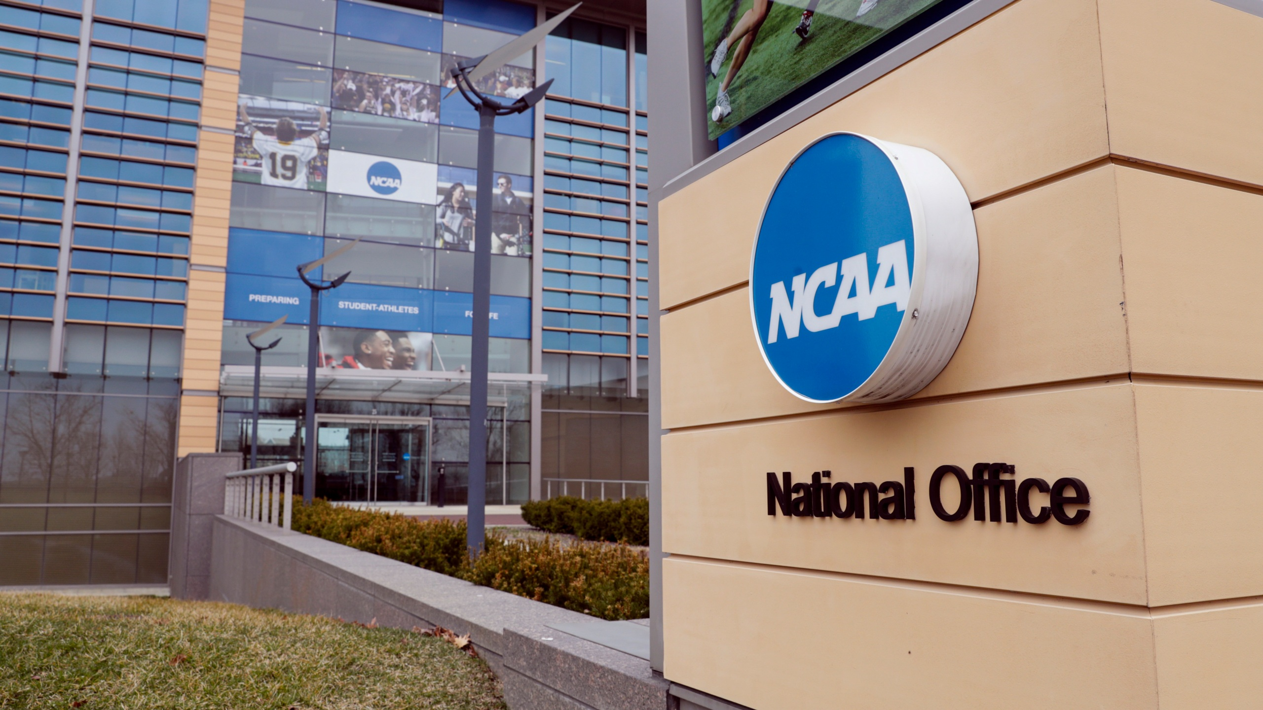 The national office of the NCAA in Indianapolis (AP Photo/Michael Conroy, File)