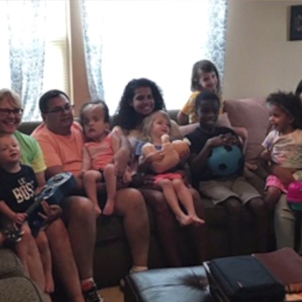 North Carolina couple creates big, happy family with 7 adoptive children.