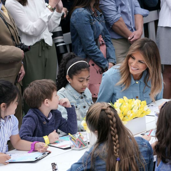 U.S. first lady Melania Trump participates in activity with children during the 141st Easter Egg Roll on the South Lawn of the White House April 22, 2019 in Washington, DC. (Photo by Alex Wong/Getty Images)
