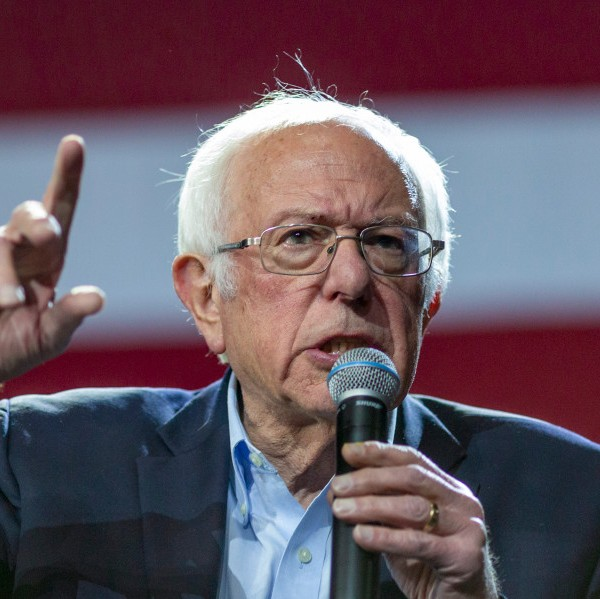 Presidential candidate Sen. Bernie Sanders holds a campaign rally at the Los Angeles Convention Center on March 1, 2020 in Los Angeles, California. Sanders is campaigning ahead of the 2020 California Democratic primary on Super Tuesday, March 3. (Photo by David McNew/Getty Images)