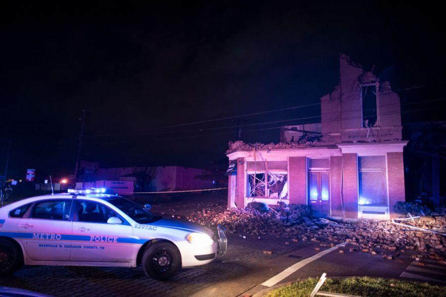 NASHVILLE, TN - MARCH 03:  Emergency crews work near a damaged business at Jefferson St. and Seventh Ave. N. on March 3, 2020 in Nashville, Tennessee. (Photo by Brett Carlsen/Getty Images)