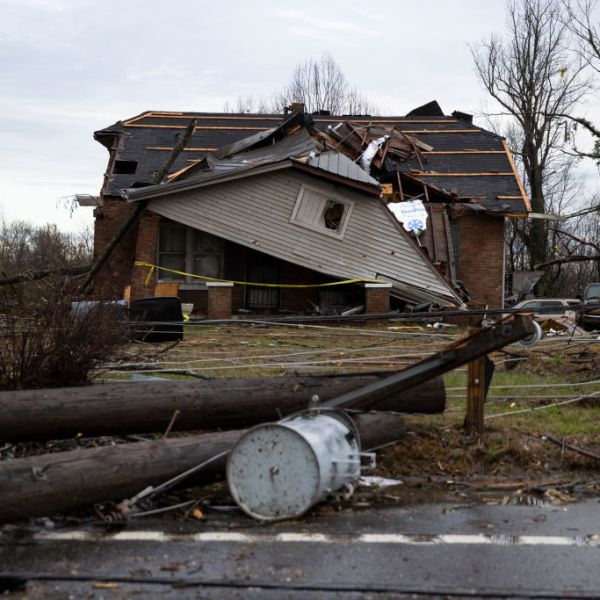 COOKEVILLE, TN - MARCH 03: A home is shown destroyed by high winds from one of several tornadoes that tore through the state overnight on March 3, 2020 in Cookeville, Tennessee. (Photo by Brett Carlsen/Getty Images)
