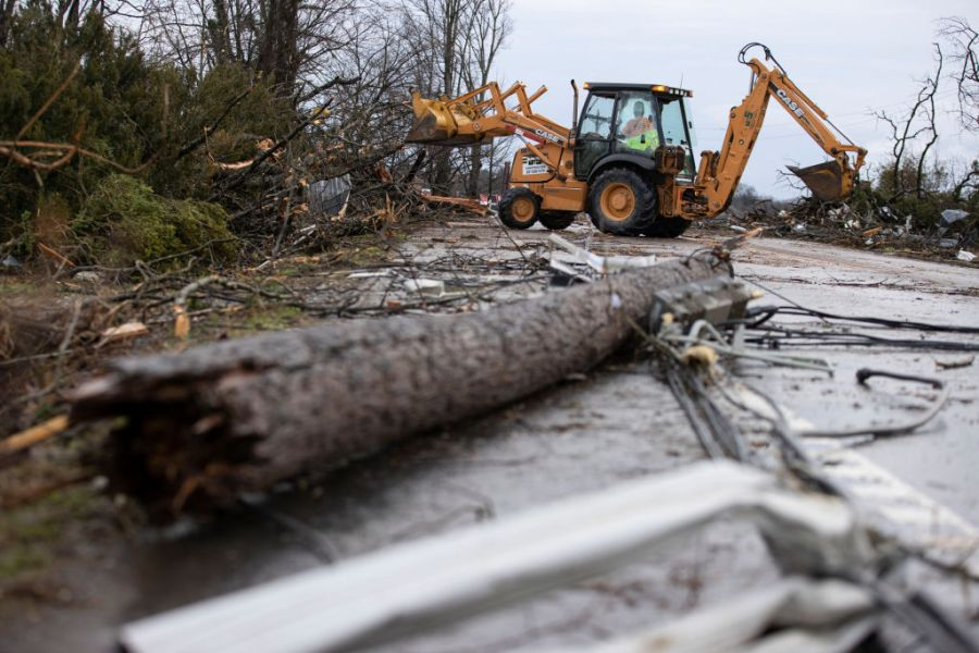 COOKEVILLE, TN - MARCH 03:  Crews work to clear roadways of debris caused by one of several tornadoes that tore through the state overnight on March 3, 2020 in Cookeville, Tennessee. (Photo by Brett Carlsen/Getty Images)