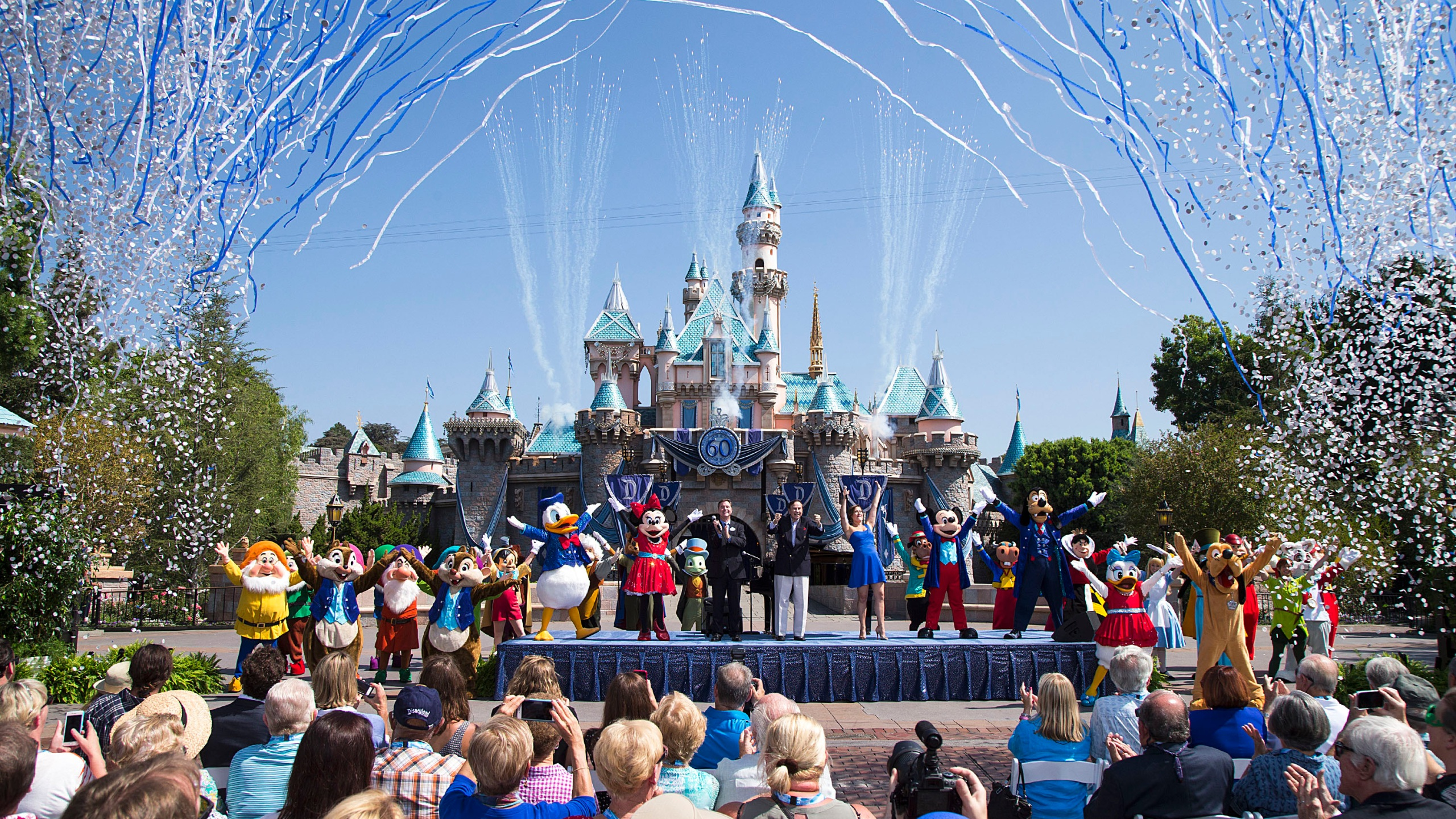Mickey Mouse and his friends celebrate the 60th anniversary of Disneyland park on July 17, 2015. (Photo by Paul Hiffmeyer/Disneyland Resort via Getty Images)