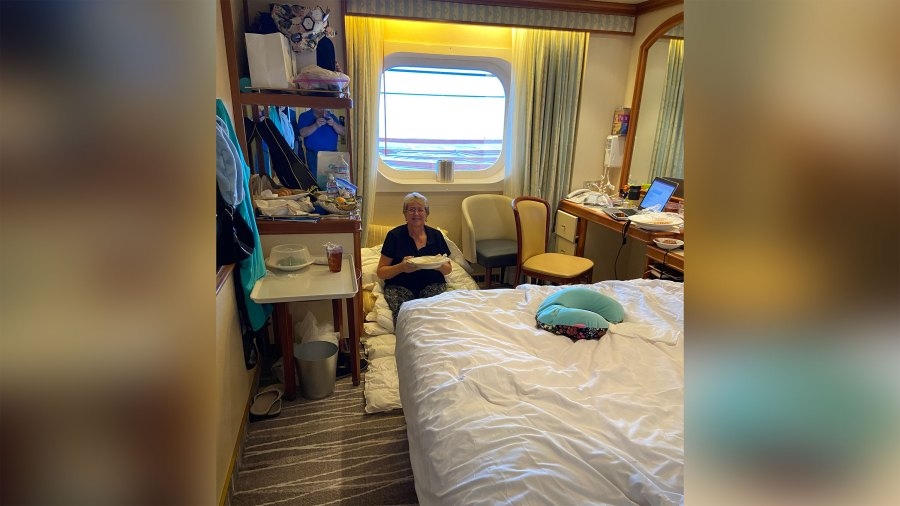 Kari Kolstoe in her cabin during quarantine aboard the Grand Princess.